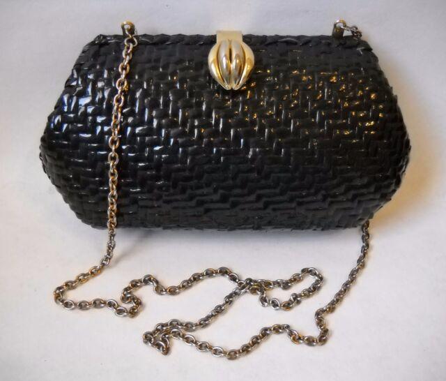 Vanessa Black Woven Handbag Purse Gold Metal Chain Evening Shoulder Bag Clutch
