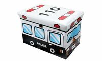Kids Child White Police Van Large Storage Box Toy Books Chest Clothes Seat Stool
