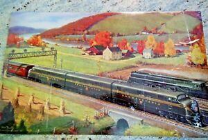 Pennsylvania-Railroad-Wall-Calendar-Top-Grif-Teller-Vintage-1948-Laminated-24x15