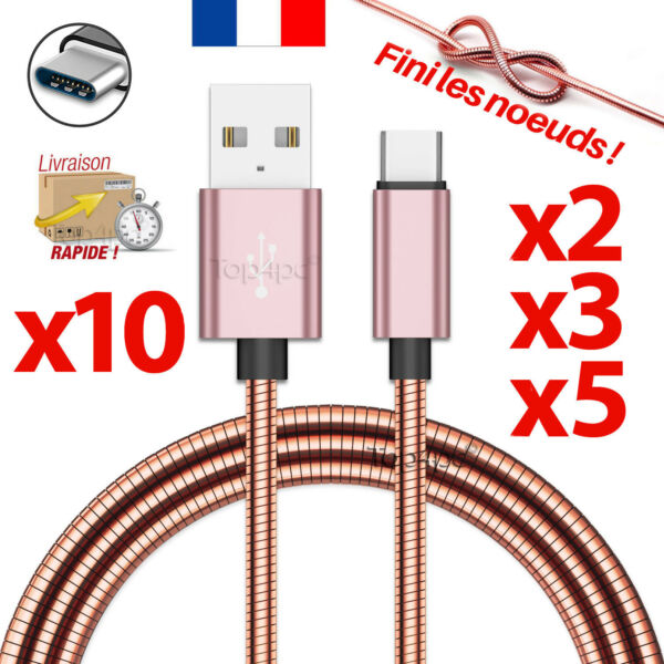 Expressif Cable Usb Type-c Chargeur Pour Samsung Galaxy S8 S9 Plus Note 8 Cuivre Rose Acheter Maintenant