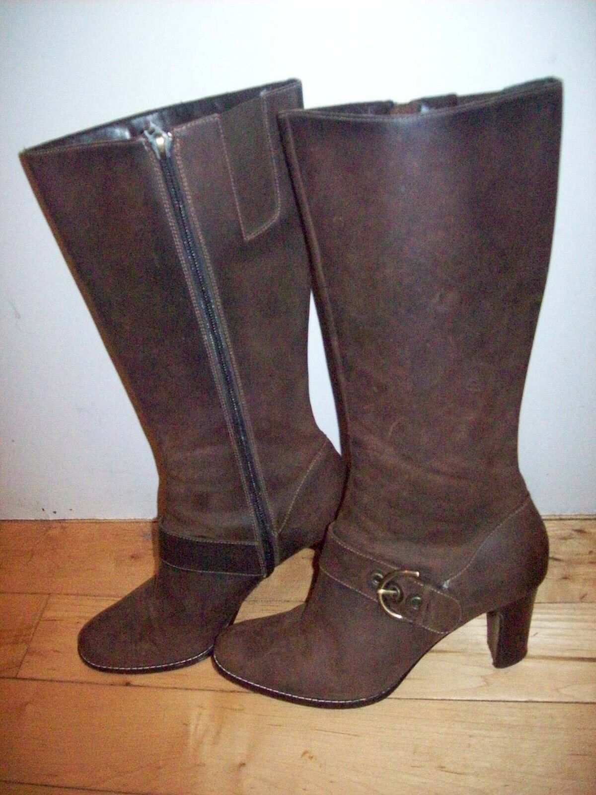 Circa Joan David Bay Distressed Brown Leather Knee Boots Shoes Size 6.5 @ cLOSeT