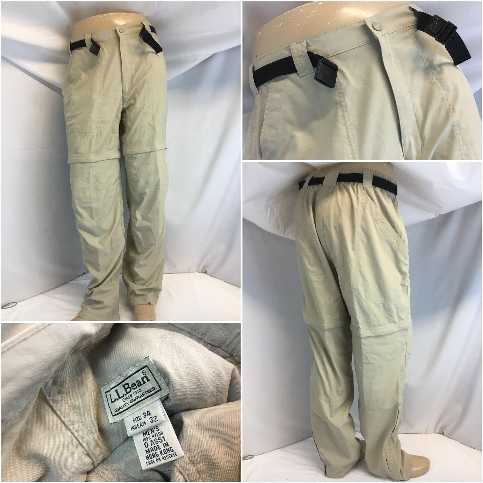 L.L. Bean Pants 34x32 Tan Nylon Zip Off Legs NWOT YGI F8-382