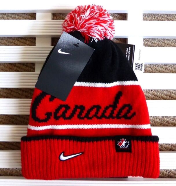 Nike TEAM CANADA Script ICE HOCKEY BOBBLE Pompom BEANIE HAT Toque Hut Adult  NEW 93bae88a6cd