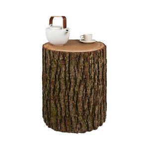 Beistelltisch Baumstamm Eiche Rinde Massiv Holzbock Holzklotz Hocker