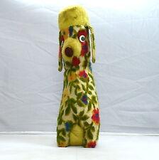 "Vintage 50s Floral Green Novelty Toy Retro Poodle Dog Plush Stuffed Animal 15"""