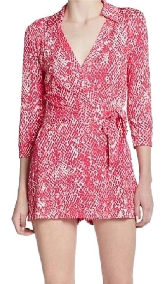 NWT Diane von Furstenberg Celeste Wrap short Playsuit Romper Jumpsuit- pink-sz 8