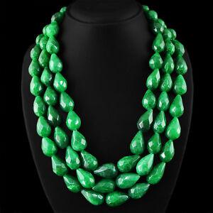 Oferta-del-viernes-negro-natural-3-Strand-Pera-esmeralda-verde-facetas-granos-collar