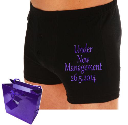 "PERSONALISED Mens Boxer shorts /""UNDER NEW MANAGEMENT/"" Wedding groom gift Fiance"