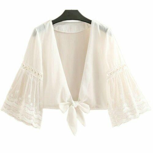 Women Lace Cardigan Cape Sheer Chiffon Jacket Shrug Bolero Capelet Summer Short