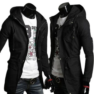 Mens Slim Fit Coat Hoodies Long Trench Parka Hooded Jacket Winter ...
