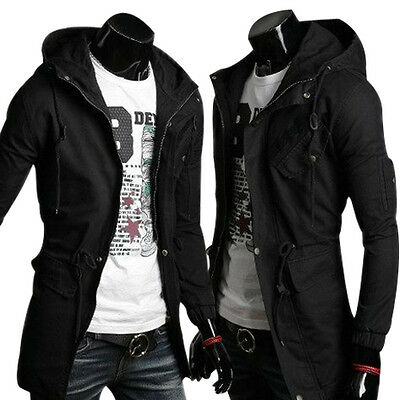 Mens Slim Fit Coat Hoodies Long Trench Parka Hooded Jacket Winter Military Tops