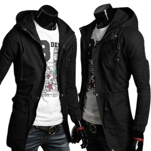 Hot Mens Trench Coat Winter Jacket Hooded Coat Overcoat Windbreaker Long Outwear