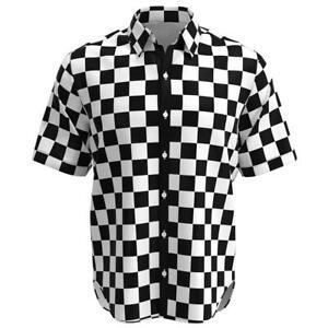 Details About Black White Checkered Box Check Men Short Sleeve Button Shirt Size Xs 3xl