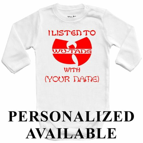 PERSONALIZED Baby bodysuit I LISTEN to WU-TANG with. kids One jersey red color
