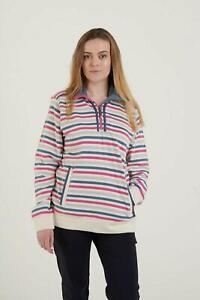 Hazy Blue Womens Zip Neck Striped Cotton Sweatshirt Top Evie II Jumper cosy