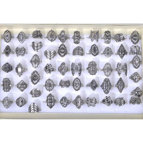 80//100pcs Wholesale Bulk Jewelry Lot Mixed Style Tibet Silver Vintage Rings Gift