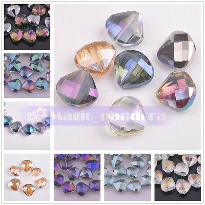 18x20mm 5pcs Triangle Shape Faceted Crystal Glass Charms Loose Spacer Beads