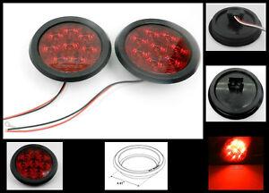 "4 8 LED 4/"" Round Stop Turn Tail Light RED TecNiq LED Bright Grommet Mount USA"