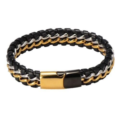Mens Stainless Steel Braided Black Leather Bangle Magnetic Bracelet Box #BR242