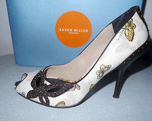 6ca8b32b1cd Details about Karen Millen white cream yellow brown studded butterfly peep  toe Shoes 40
