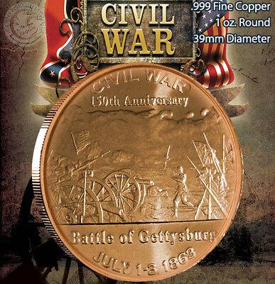 "3 Rounds  /""Battle of Antietam/"" 1oz .999 Copper Round Civil War Collection"