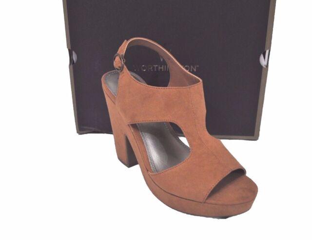 d198499ac522c Worthington Women s Una PUMPS High HEELS Shoes Suede Open Toe Cognac Size 8  M for sale online