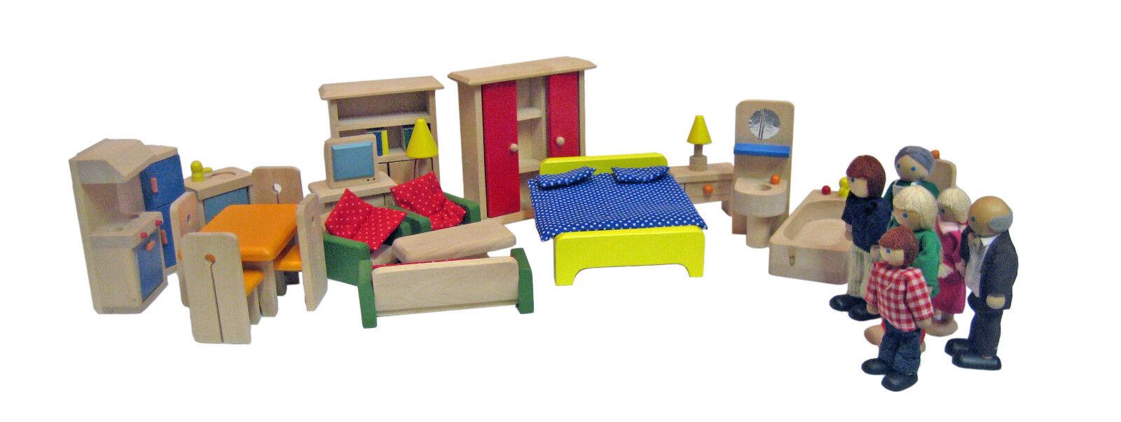 Casa-set, 34 piezas + biegepuppenfamilie