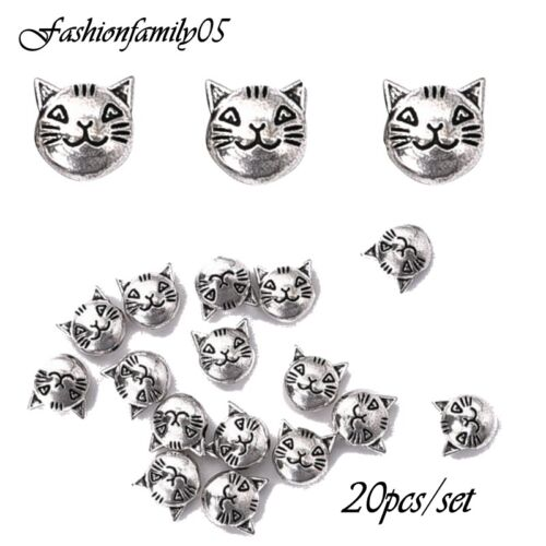 20 Pcs Lovely 8mm Cat Charms Beads Craft Making DIY Jewelry Findings Making