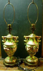 Capodimonte-Pair-Of-2-Cherub-Lamps-Circa-1940-039-s