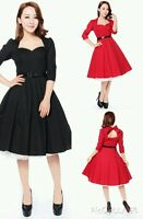 NEW ROCKABILLY 50s RED BLACK VINTAGE PIN UP PARTY EVENING SWING PROM DRESS N60
