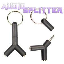 3.5mm Stereo Audio Jack Earphone Headphone 2 Way Y Splitter Adapter Keyring BLK