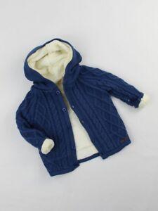 newest 670c8 0c654 Details zu NEU Jungen Babykleidung Baby Strick Jacke Gr. 74 80 86 92 Kapuze  Blau Weiß Weich