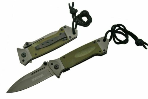 SPRING-ASSIST FOLDING POCKET KNIFEArmy Green G10 Military Tactical Gunmetal