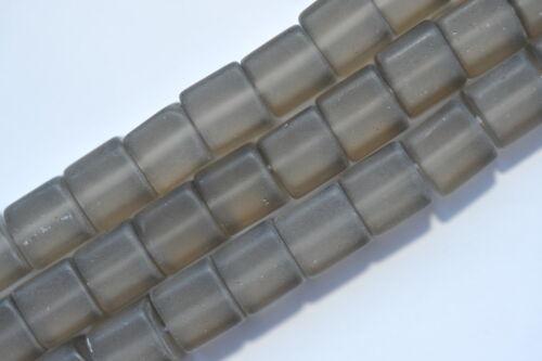 60 perles de verre cube 6 MM et Marron Gris Mat Ai5-03