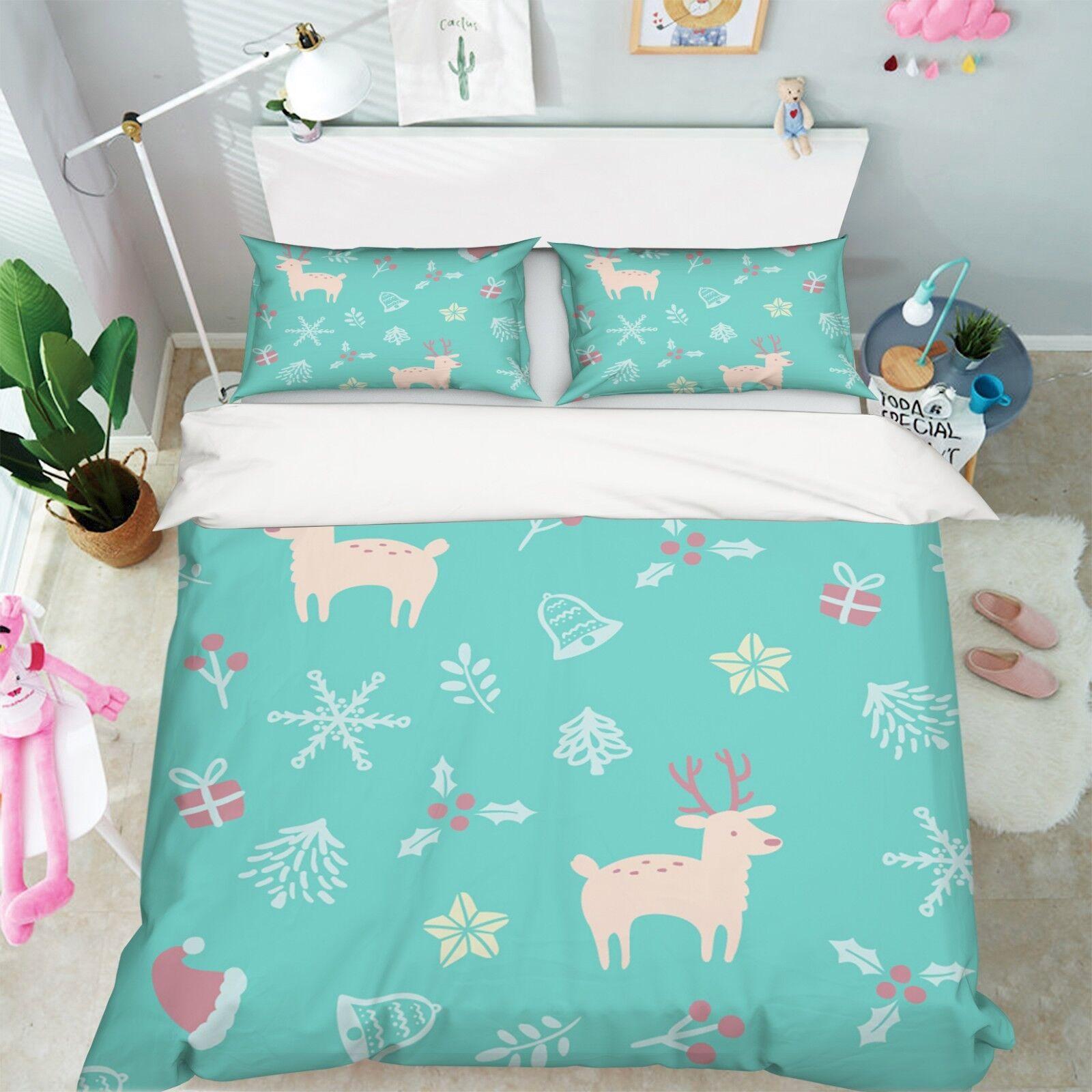 3D Christmas Xmas Deer 41 Bed Pillowcases Quilt Duvet Cover Set Single King UK