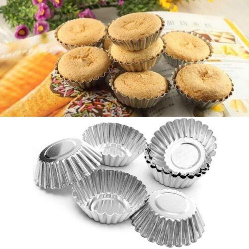 10Pcs Egg Tarts Baking Mold Aluminum Chocolate Cookie Muffins Making Mould Tins