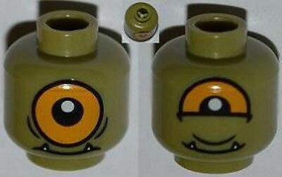 Single Orange Eye Open Minifig Head Alien w// Lower Fangs Olive Green LEGO