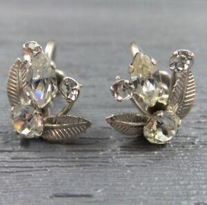 Boxed Unworn Vintage Sterling Silver /& Clear Stone Flower Stud Earrings