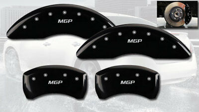 Set of 4 MGP Caliper Covers 22187SMGPBK MGP Engraved Caliper Cover with Black Powder Coat Finish and Silver Characters,