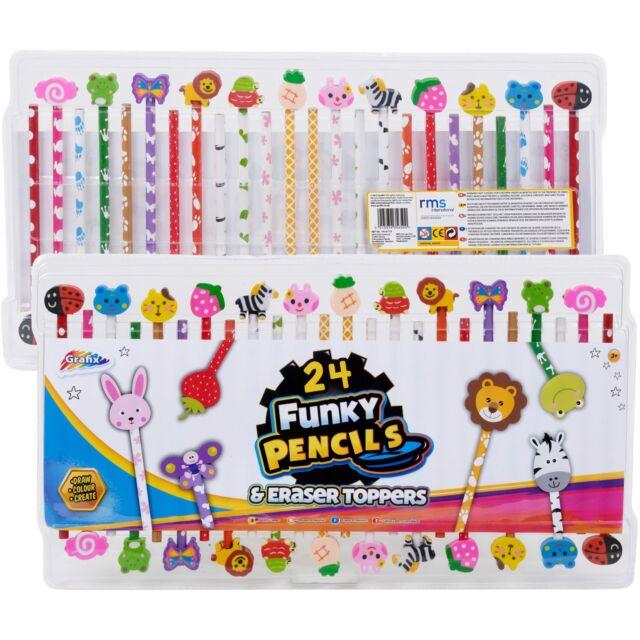 Grafix 24 Funky Pencils Fun Eraser Toppers Kids Animal Fruit Cute Stationery Set