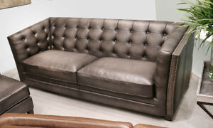 Details about New Classic Modern Chesterfield Sofa in Gray Top Grain  Leather Restoration Style