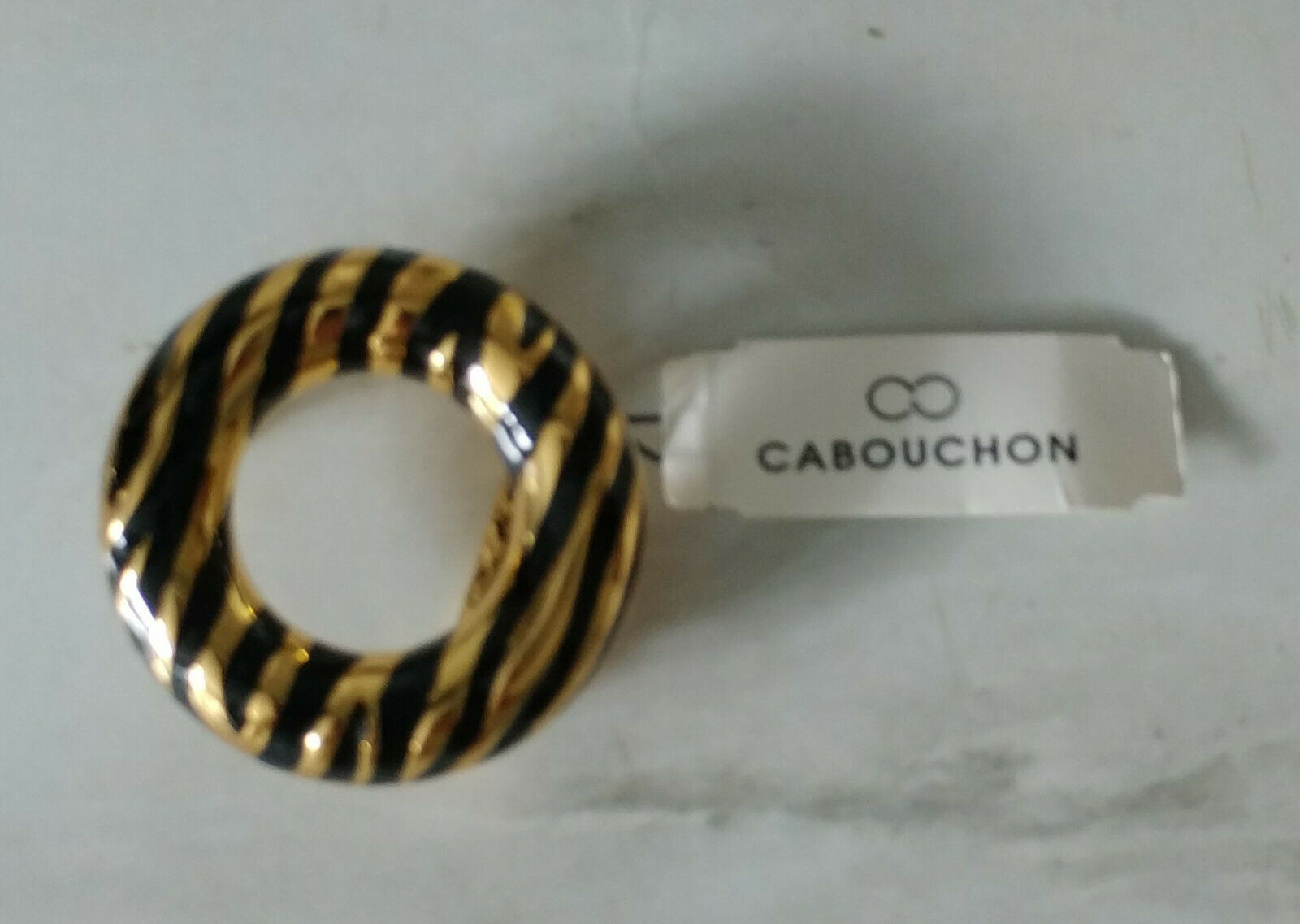 Cabouchon Ladies Belt Buckle Gold & Black Stripe New in Packet Bling Bright