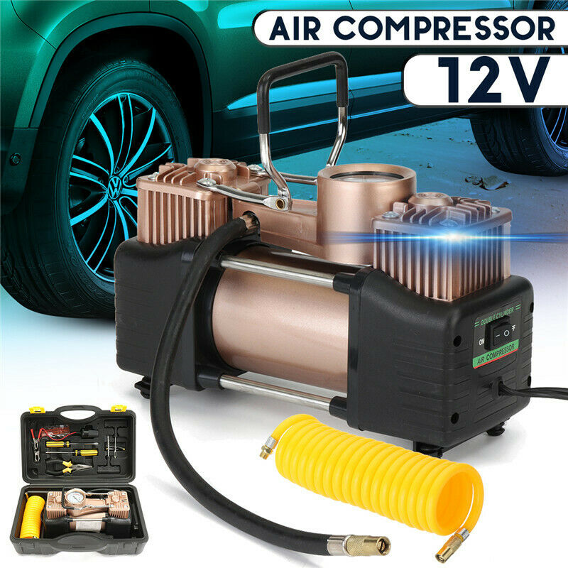 12V Portable 150PSI Tyre Tire Inflator Double-Cylinder Pump Air Compressor Kit