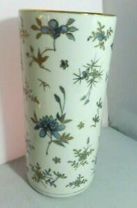 Vintage-Japanese-Porcelain-Wig-Stand-Cylinder-Vase-10-5-034-Blue-Floral-Gold-Trim