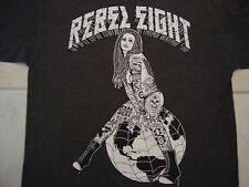 Rebel Eight Apparel Sexy Pin Up Gangster Girl Dark Gray Cotton T Shirt Size L