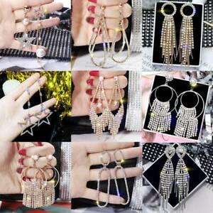 Geometric-Crystal-Tassel-Drop-Dangle-Earrings-Women-Elegant-Jewelry-Wedding-Gift