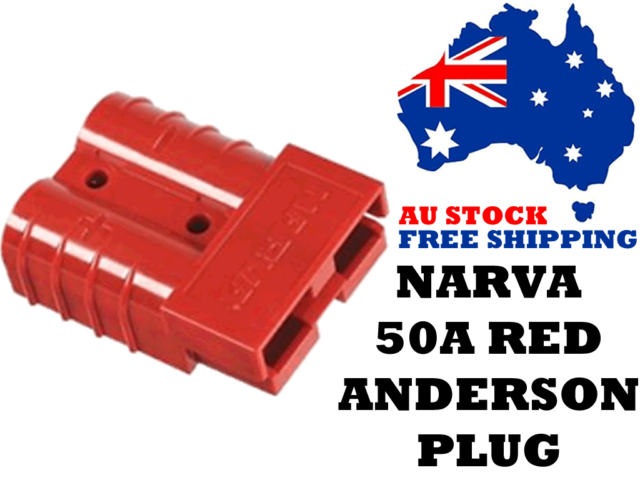 Narva 57200R 57200RBL 50A Anderson Plug Red - Dual Battery, Auto Electrical