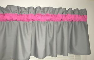 Image Is Loading Bright Pink And Gray Window Curtain Valance Bath