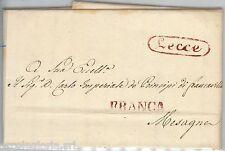 60695 - ITALIA  REGNO - STORIA POSTALE  -  BUSTA PREFILATELICA da LECCE   1830
