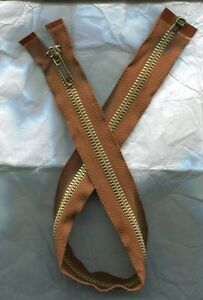 22 inch Rare Vintage Coats & Clark Rust Brown & Brass #5 Separating Zipper
